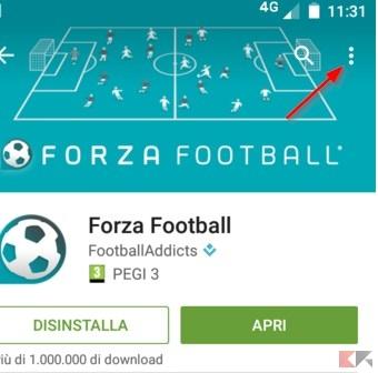 menu aggiornamento app