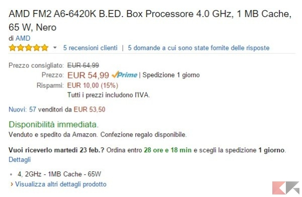 AMD FM2 A6-6420K B.ED. Box Processore 4.0 GHz