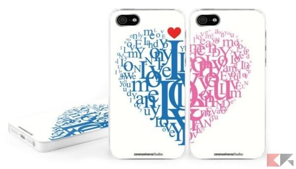 Coppia cover custodie rigide per Apple iPhone 5, per lui e per lei, idea regalo