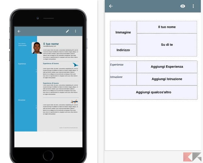 compilare curriculum vitae su android  iphone e ipad