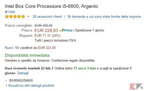 Intel Box Core Processore i5-6600