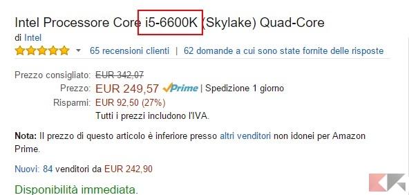 Intel Processore Core i5-6600K (Skylake)