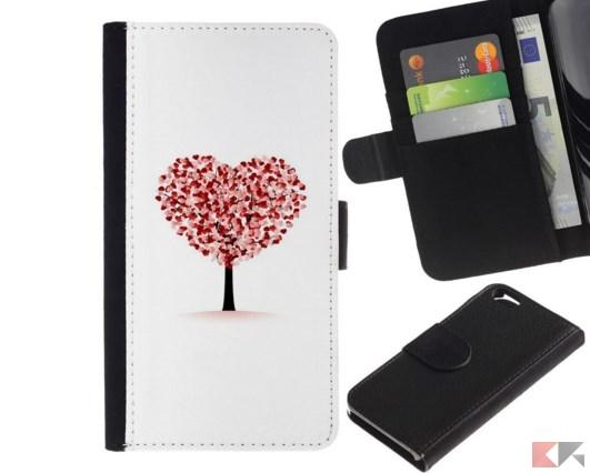 KingStore _ Custodia in pelle Protettiva Flip Case Cover _ Apple Iphone 6 _ Cuor
