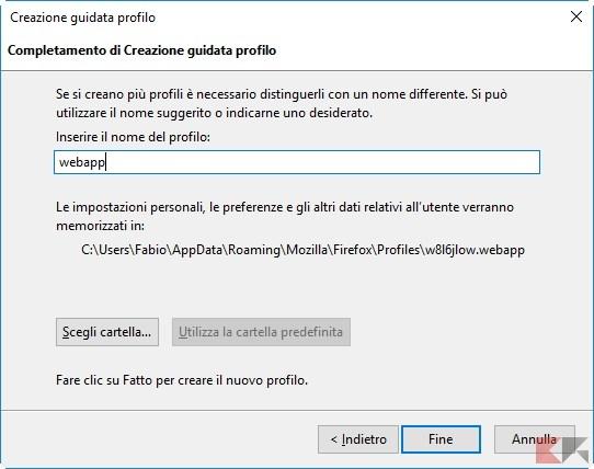 webapp profilo