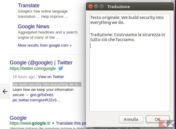 Tradurre parti di testo su ubuntu senza aprire il browser for Disegno una finestra testo