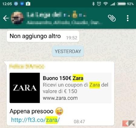 Buono da 150€ di Zara su WhatsApp