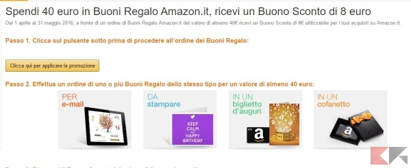 Buono regalo amazon 8 in omaggio per chi ne acquista uno for Buoni omaggio amazon