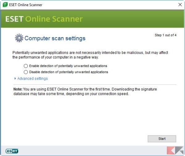 ESET Online Scanner PUP