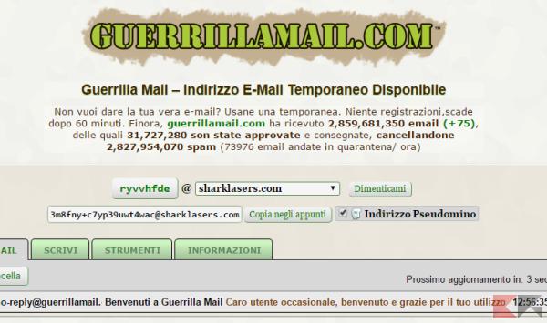 guerrilla - creare email temporanea