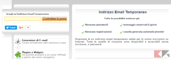 yopmail - creare email temporanea