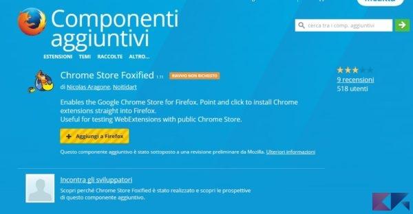 Estensioni di Chrome in Firefox
