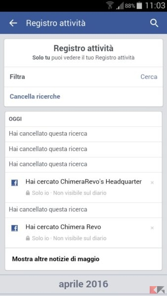 come cancellare la cronologia Facebook - Android