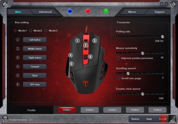 T6 Wired Gaming Mouse gestione