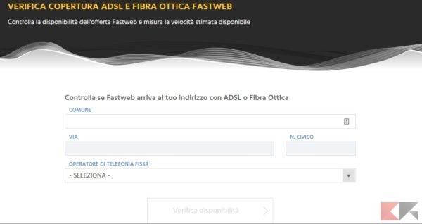 Controllare copertura ADSL Fastweb