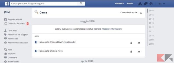 come cancellare la cronologia Facebook - PC
