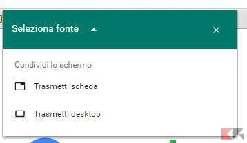 trasmetti scheda desktop
