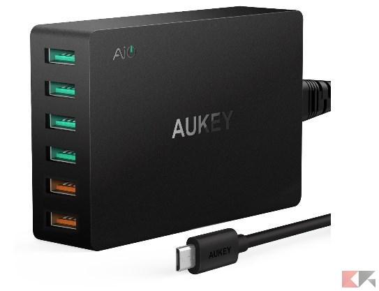 AUKEY Quick Charge 3.0 Caricabatteria da Muro, 2 Porte Quick Charge 3.0 & 4 Port