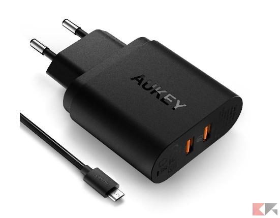 AUKEY Quick Charge 3.0 Caricabatteria da Muro 39W, Due porte USB & AiPower, Supp