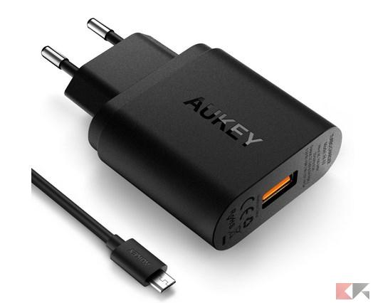 AUKEY Quick Charge 3.0 Caricabatteria per Muro [Qualcomm Certificato] 19.5W, Com