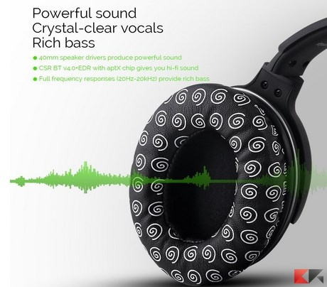 Auricolari Bluetooth, Mixcder Ghost Cuffie con microfono Wireless Bluetooth, dop