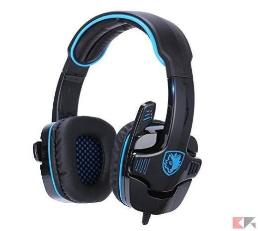 GHB Sades SA 708 Cuffie da Gioco Gaming Headphone Stereo con Microfono Jack 3.5m
