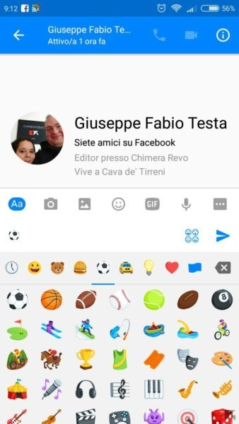 Calcio su facebook messenger