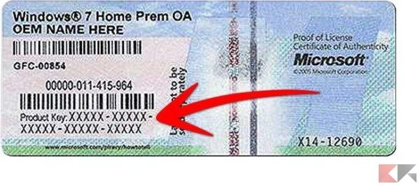 etichetta licenza windows
