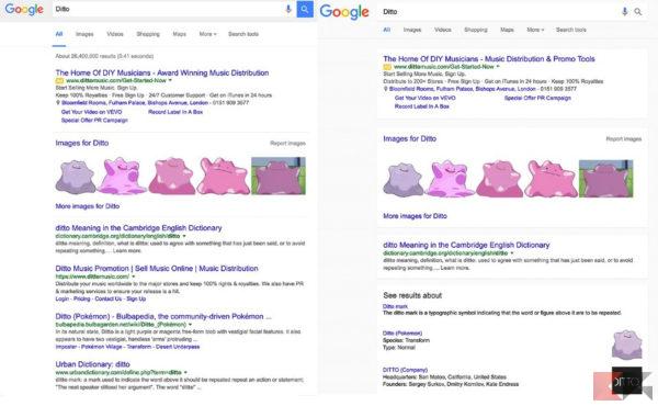 Sinistra: Google classico. Destra: Material Design