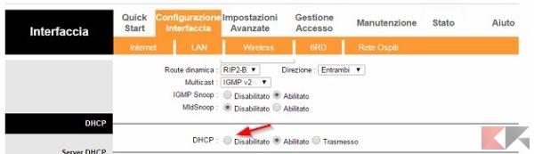 DHCP disattivato
