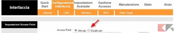 Disattivare WiFi