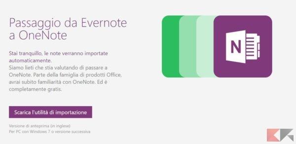 Importa contenuti di Evernote in OneNote
