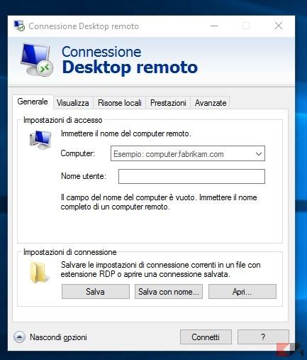 connessione remota client