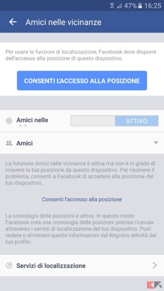facebook amici vicinanze