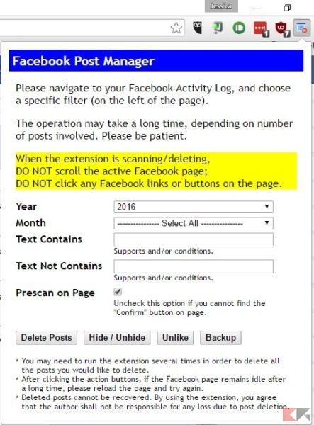rimuovere vecchi post di Facebook