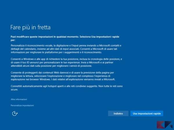 """""""Fare più in fretta"""": il metodo elegante con cui Microsoft vi invita a lasciargli campo libero sulle informazioni da condividere"""