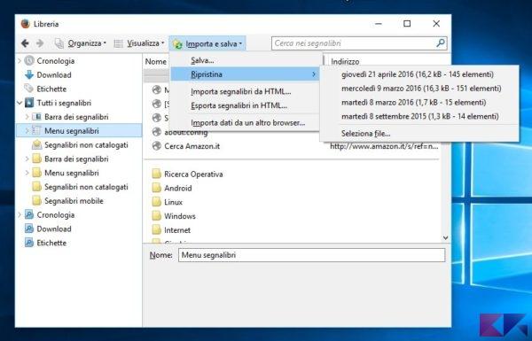 Recuperare preferiti cancellati per sbaglio su Chrome e Firefox