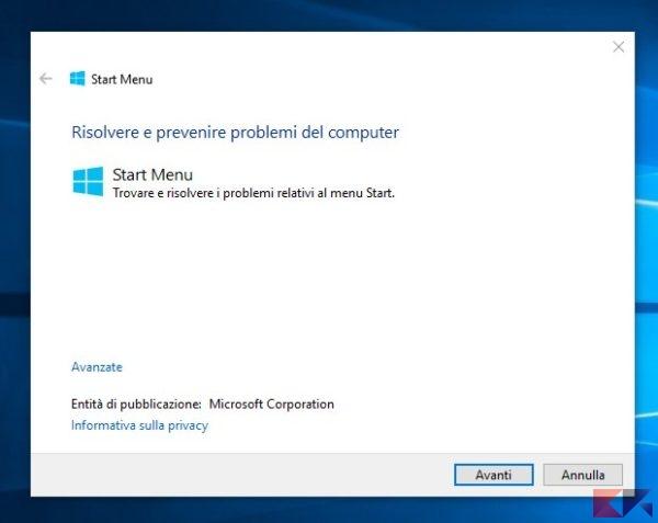 menu Start di Windows 10 non funziona