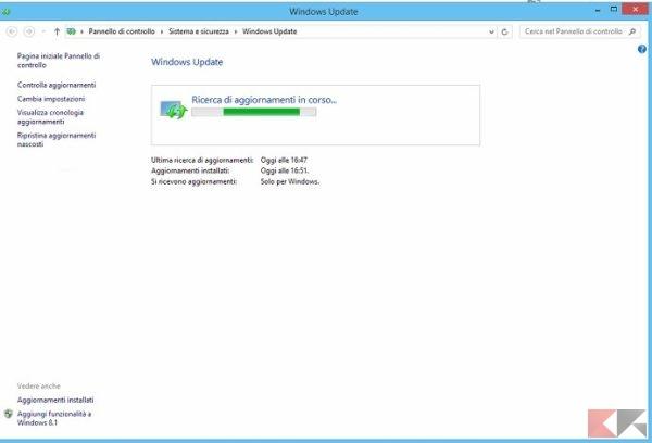 Aggiornamenti Windows 8.1 o 7
