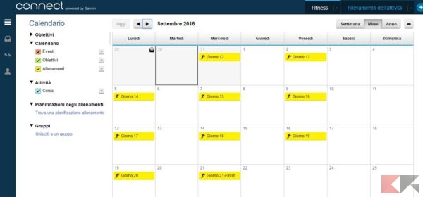 calendario allenamenti da garmin connect