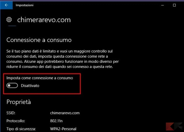 connessione a consumo Windows 10