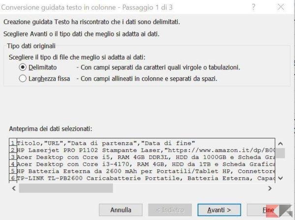 Come convertire un file csv in Excel