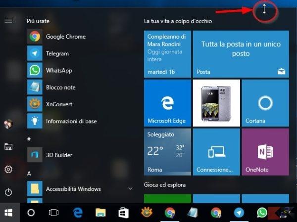 Ridimensionare il menu Start di Windows 10