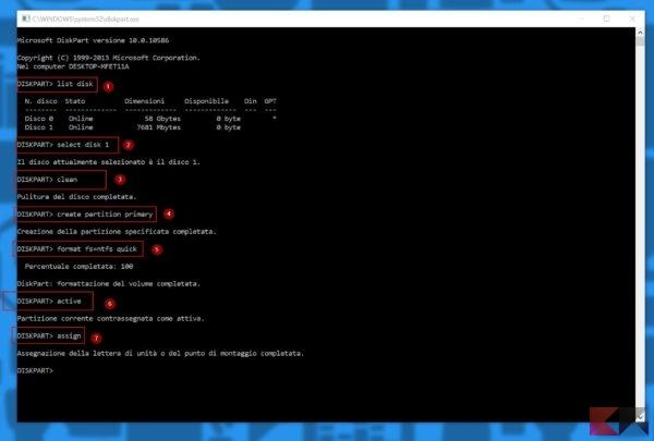 Come eliminare partizioni da una chiavetta USB in Windows