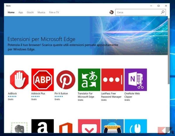 installare estensioni in Microsoft Edge