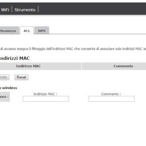 filtro indirizzi MAC