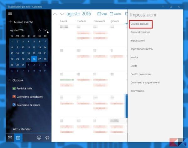 aggiungere il calendario di Google in Windows 10