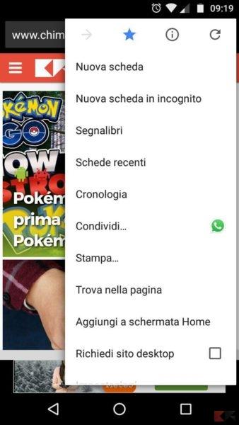 Aggiungere un sito web alla homescreen