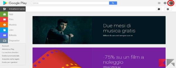 Cambiare account Play Store in Android