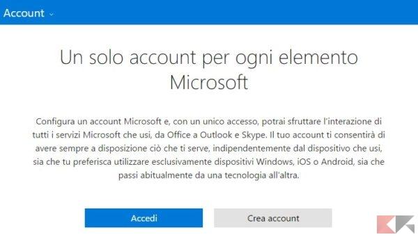Nuovo Account Microsoft