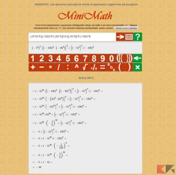 Mini Math - risolvere espressioni